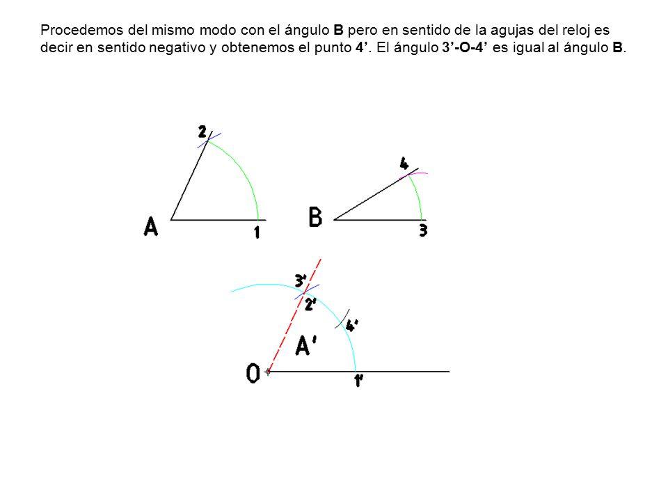 Procedemos del mismo modo con el ángulo B pero en sentido de la agujas del reloj es decir en sentido negativo y obtenemos el punto 4'.