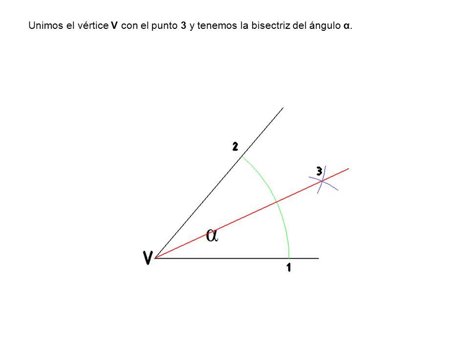 Unimos el vértice V con el punto 3 y tenemos la bisectriz del ángulo α.