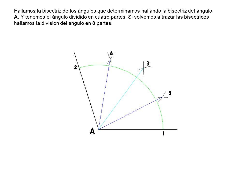 Hallamos la bisectriz de los ángulos que determinamos hallando la bisectriz del ángulo A.
