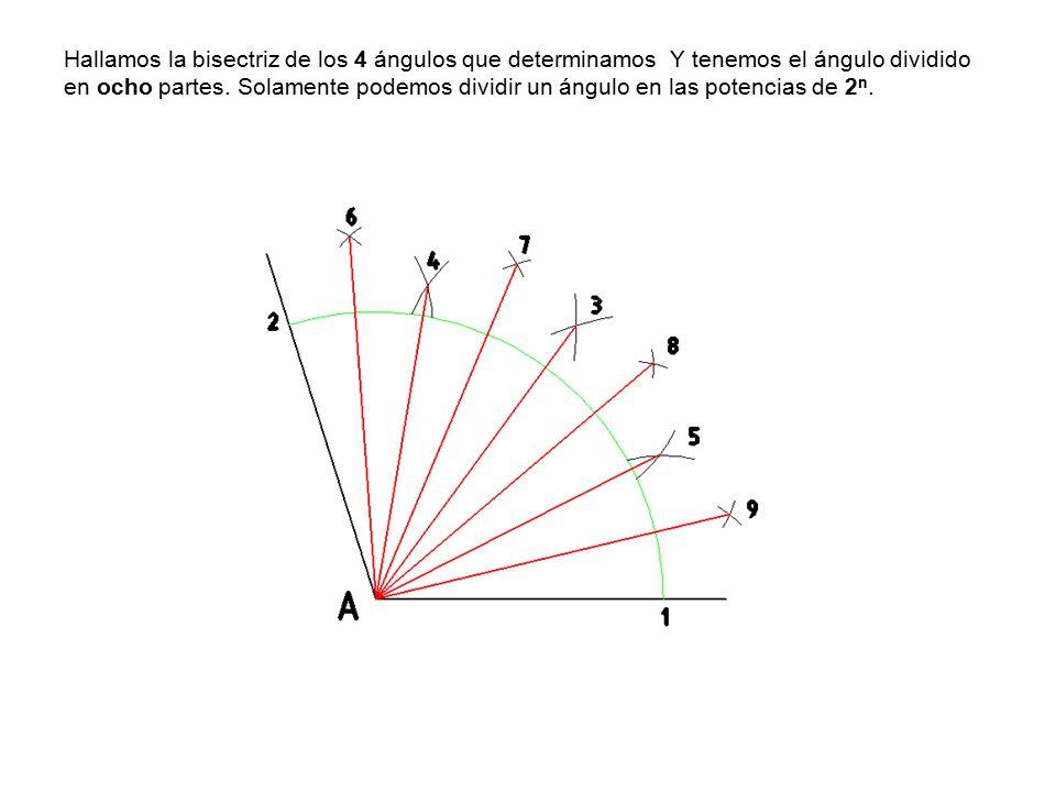 Hallamos la bisectriz de los 4 ángulos que determinamos Y tenemos el ángulo dividido en ocho partes.