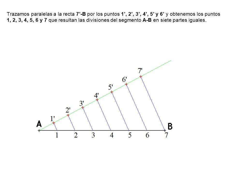 Trazamos paralelas a la recta 7'-B por los puntos 1', 2', 3', 4', 5' y 6' y obtenemos los puntos 1, 2, 3, 4, 5, 6 y 7 que resultan las divisiones del segmento A-B en siete partes iguales.