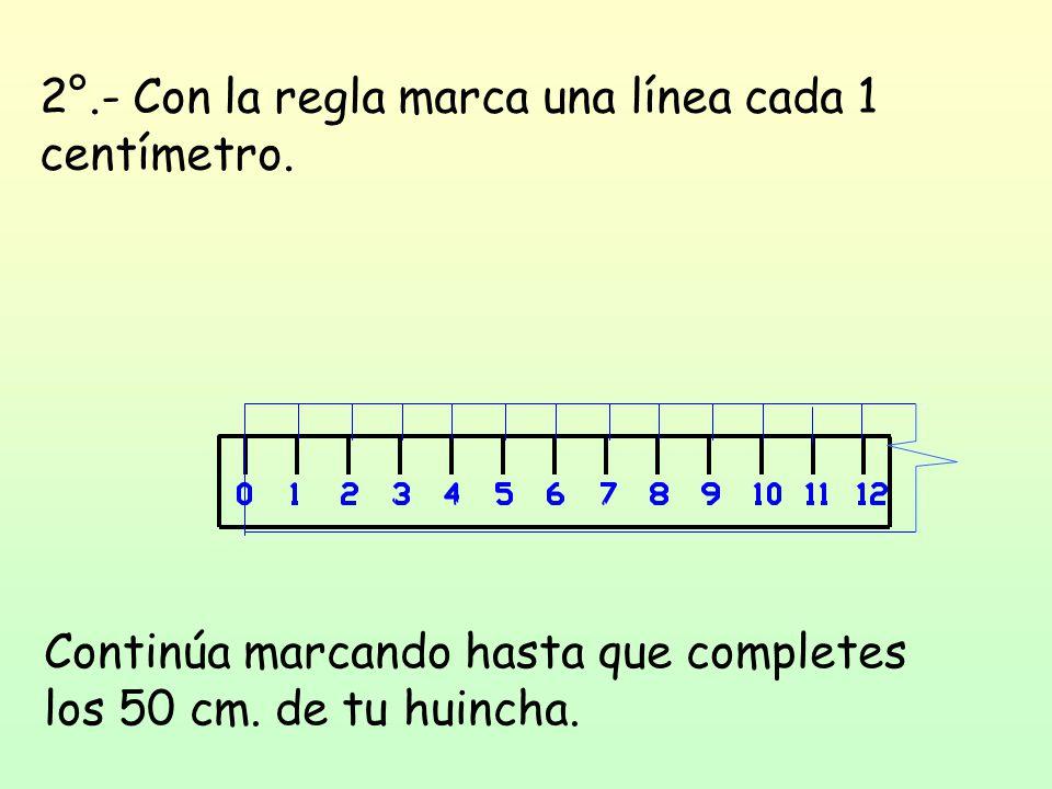 2°.- Con la regla marca una línea cada 1 centímetro.