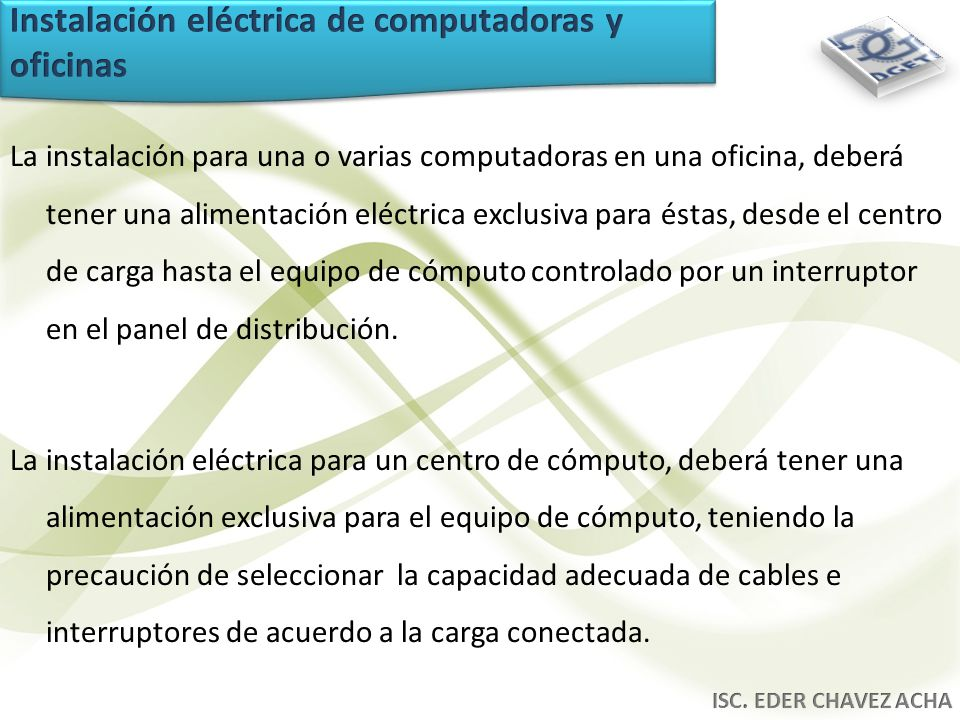 Instalación eléctrica de computadoras y oficinas