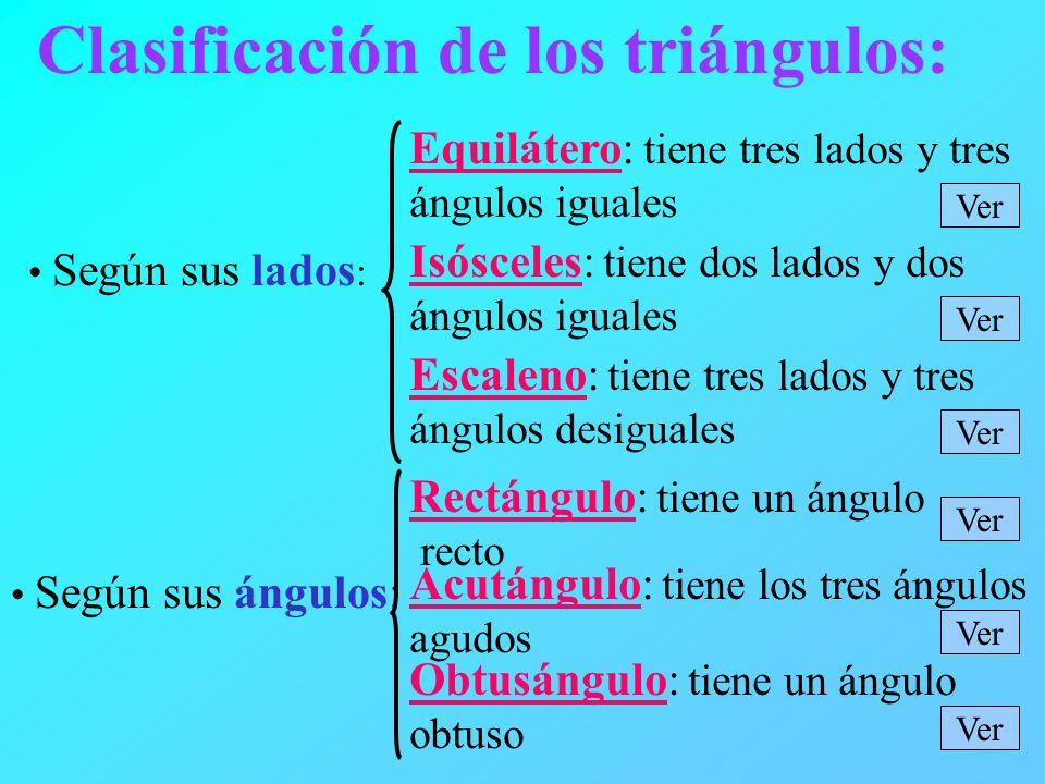 Clasificación de los triángulos: