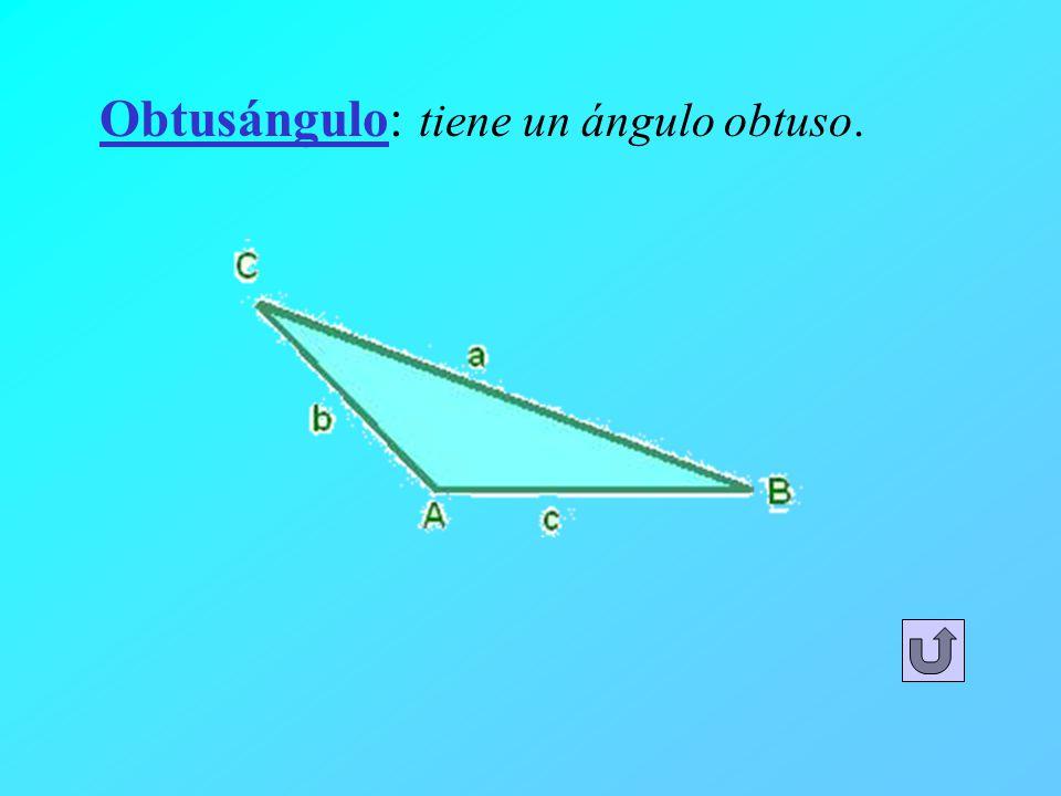 Obtusángulo: tiene un ángulo obtuso.