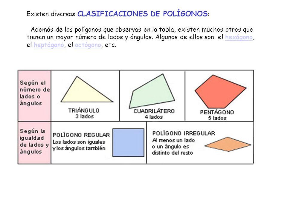 Existen diversas CLASIFICACIONES DE POLÍGONOS: