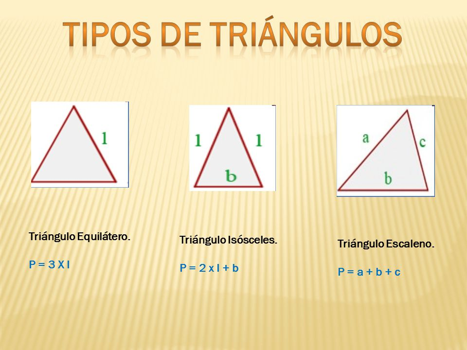 Tipos de triángulos Triángulo Equilátero. Triángulo Isósceles.