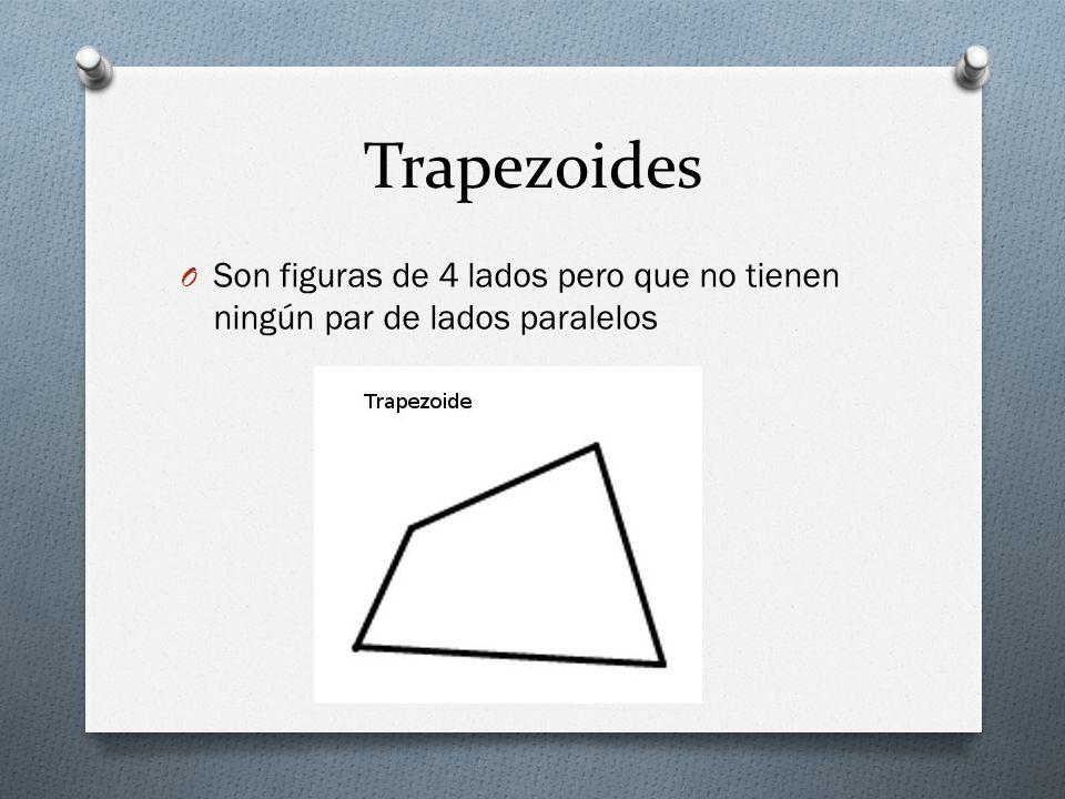 Trapezoides Son figuras de 4 lados pero que no tienen ningún par de lados paralelos
