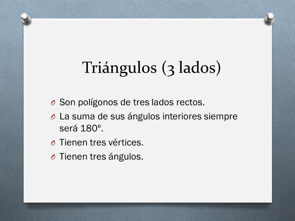 Triángulos (3 lados) Son polígonos de tres lados rectos.