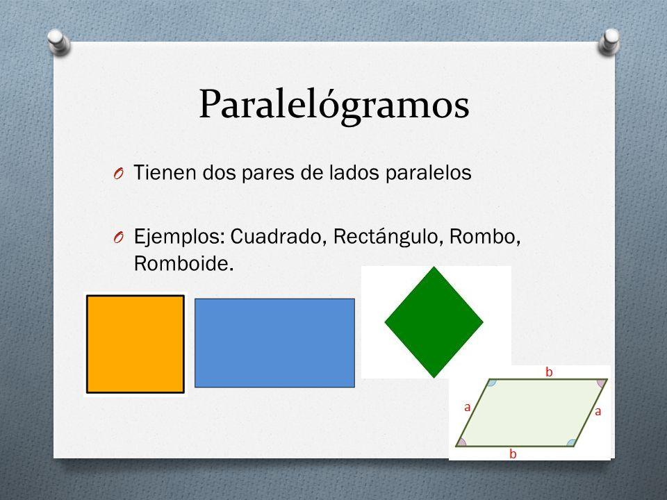 Paralelógramos Tienen dos pares de lados paralelos