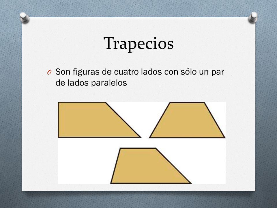 Trapecios Son figuras de cuatro lados con sólo un par de lados paralelos