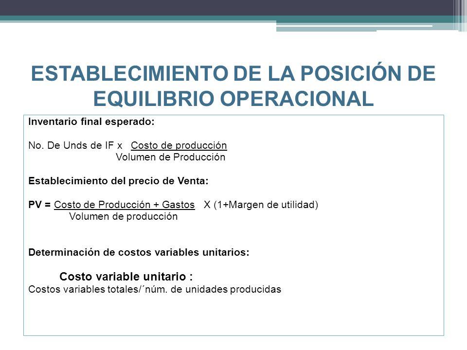 ESTABLECIMIENTO DE LA POSICIÓN DE EQUILIBRIO OPERACIONAL