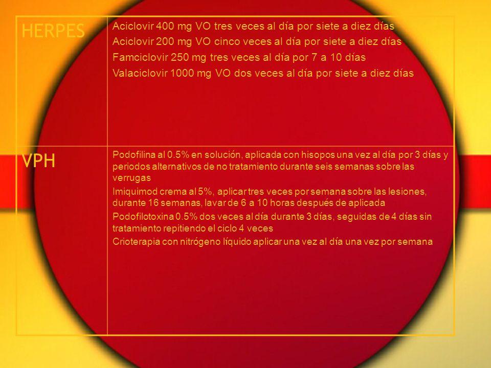 HERPES VPH Aciclovir 400 mg VO tres veces al día por siete a diez días