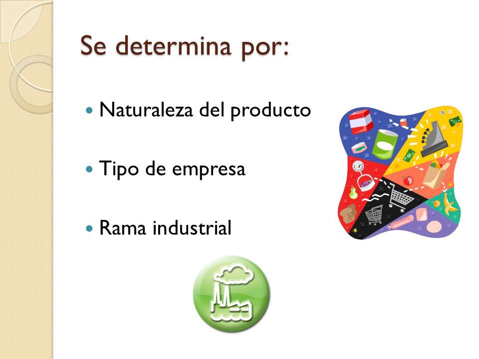 Se determina por: Naturaleza del producto Tipo de empresa