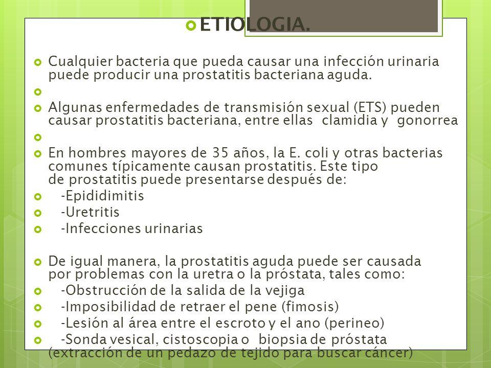ETIOLOGIA. Cualquier bacteria que pueda causar una infección urinaria puede producir una prostatitis bacteriana aguda.