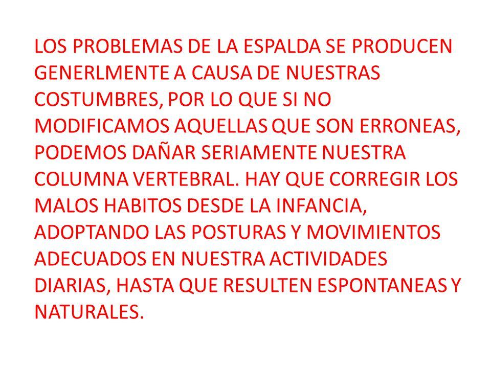 LOS PROBLEMAS DE LA ESPALDA SE PRODUCEN GENERLMENTE A CAUSA DE NUESTRAS COSTUMBRES, POR LO QUE SI NO MODIFICAMOS AQUELLAS QUE SON ERRONEAS, PODEMOS DAÑAR SERIAMENTE NUESTRA COLUMNA VERTEBRAL.