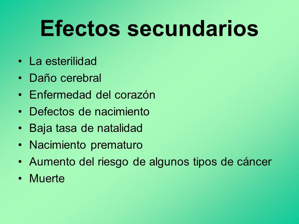 Efectos secundarios La esterilidad Daño cerebral