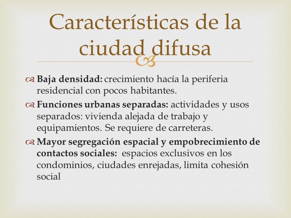 Características de la ciudad difusa