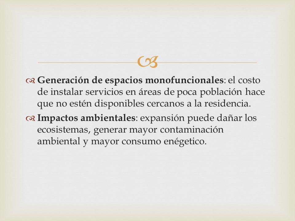 Generación de espacios monofuncionales: el costo de instalar servicios en áreas de poca población hace que no estén disponibles cercanos a la residencia.