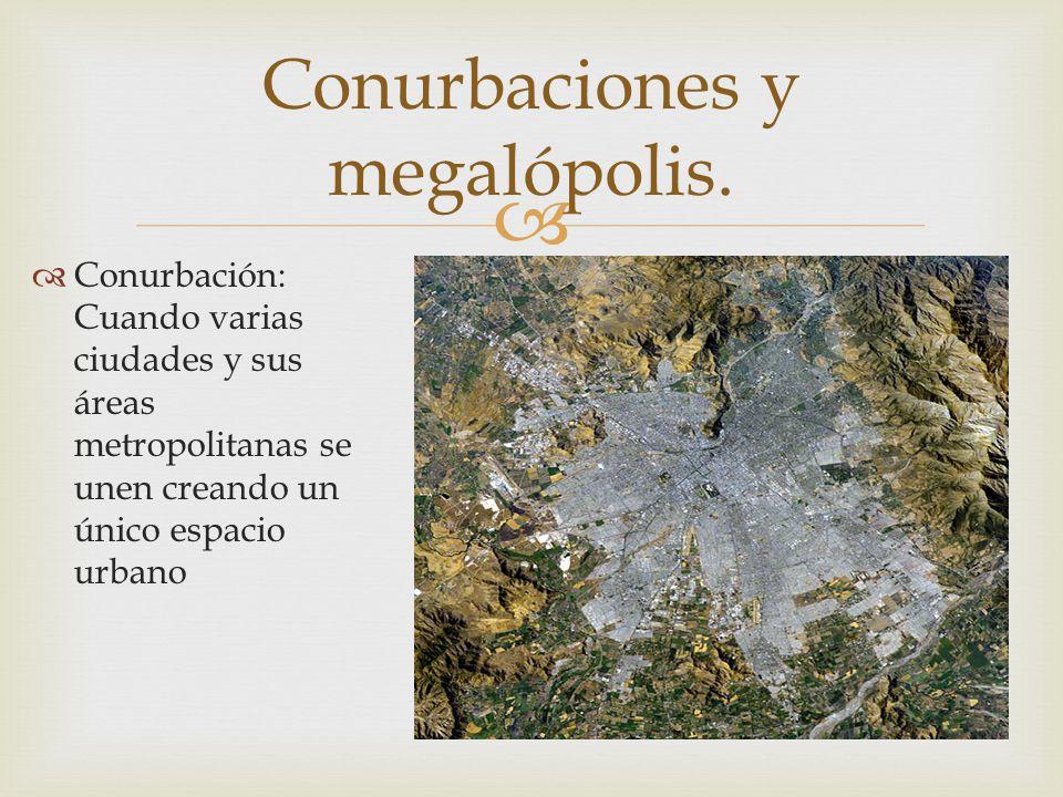 Conurbaciones y megalópolis.