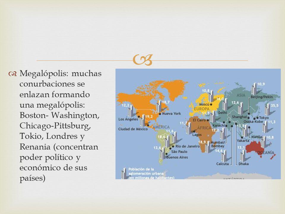 Megalópolis: muchas conurbaciones se enlazan formando una megalópolis: Boston- Washington, Chicago-Pittsburg, Tokio, Londres y Renania (concentran poder político y económico de sus países)