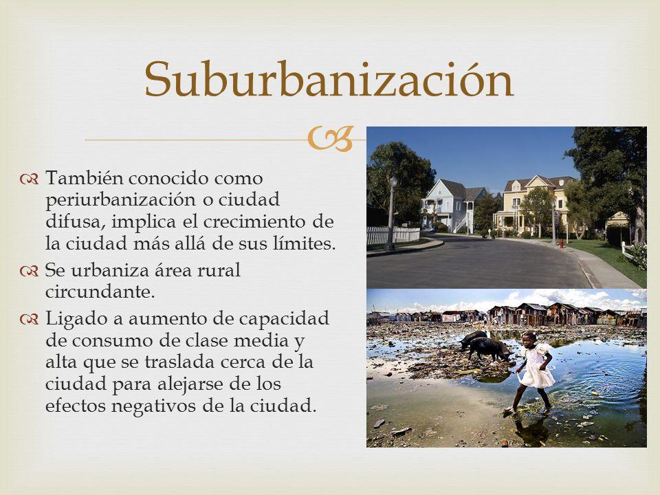 Suburbanización También conocido como periurbanización o ciudad difusa, implica el crecimiento de la ciudad más allá de sus límites.