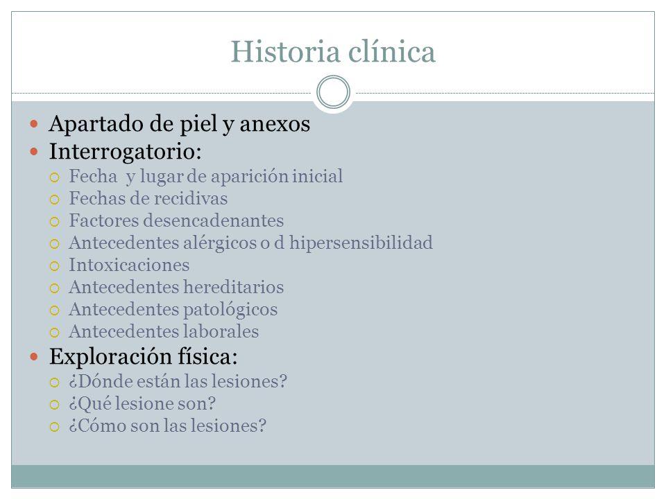 Historia clínica Apartado de piel y anexos Interrogatorio: