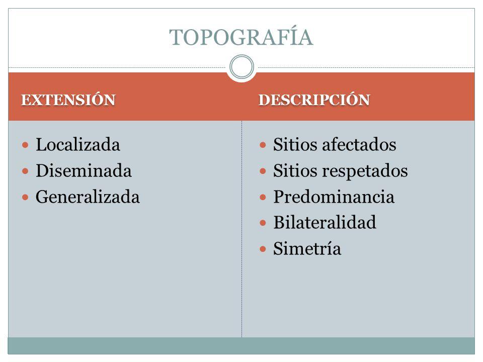TOPOGRAFÍA Localizada Diseminada Generalizada Sitios afectados