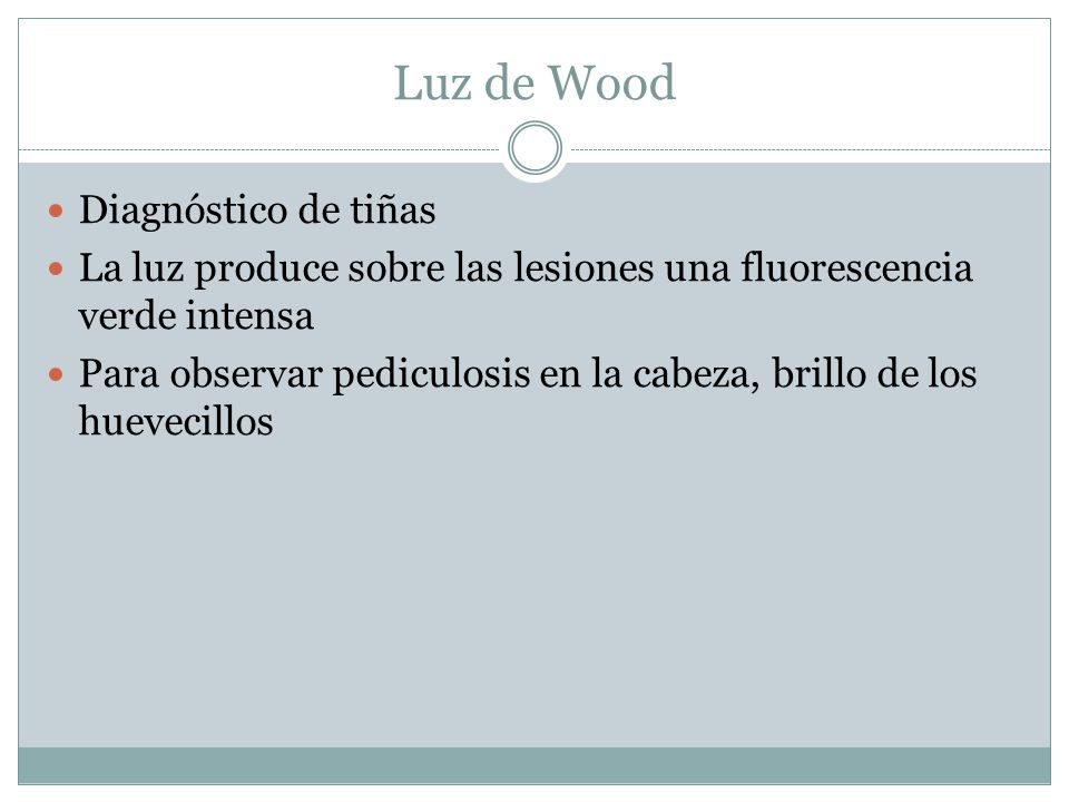 Luz de Wood Diagnóstico de tiñas