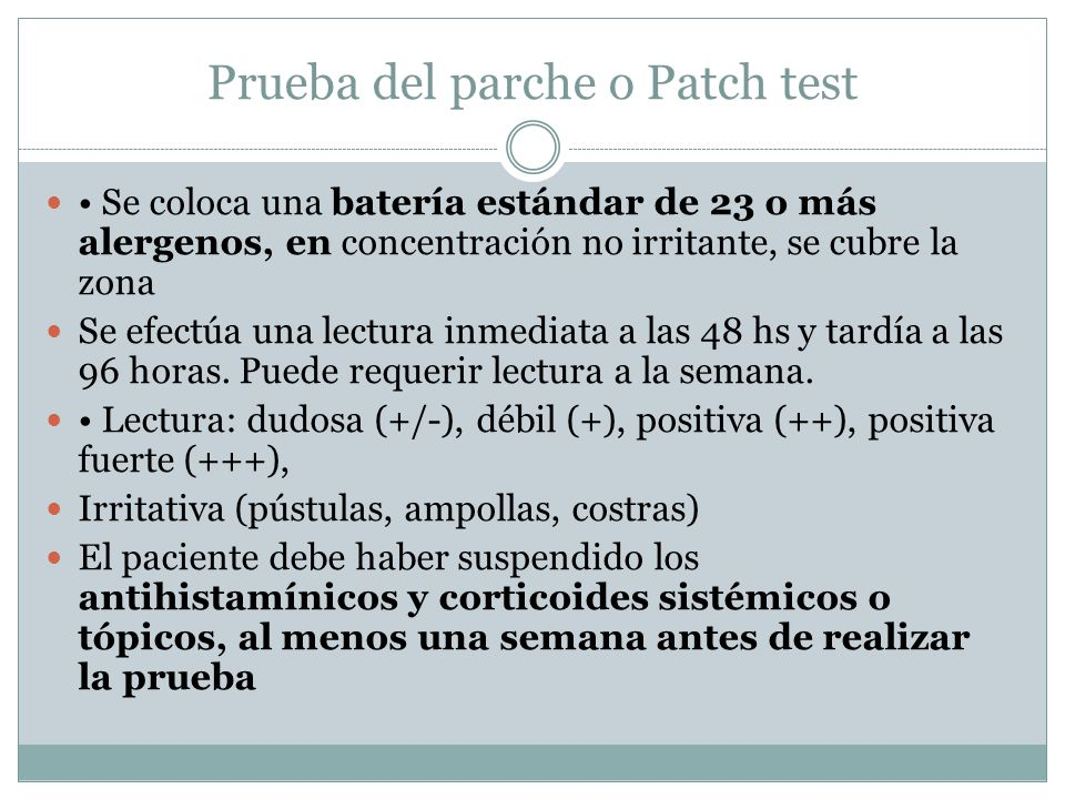 Prueba del parche o Patch test
