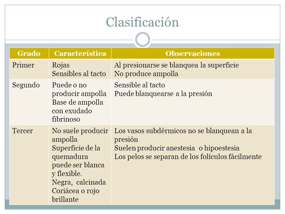 Clasificación Grado Característica Observaciones Primer Rojas