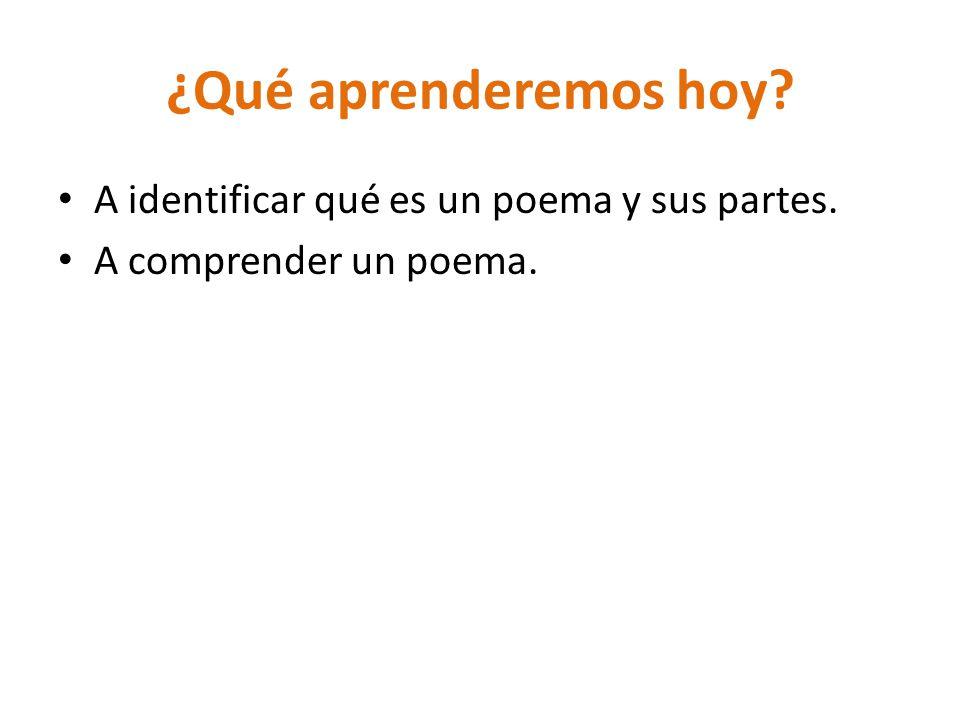 ¿Qué aprenderemos hoy A identificar qué es un poema y sus partes.