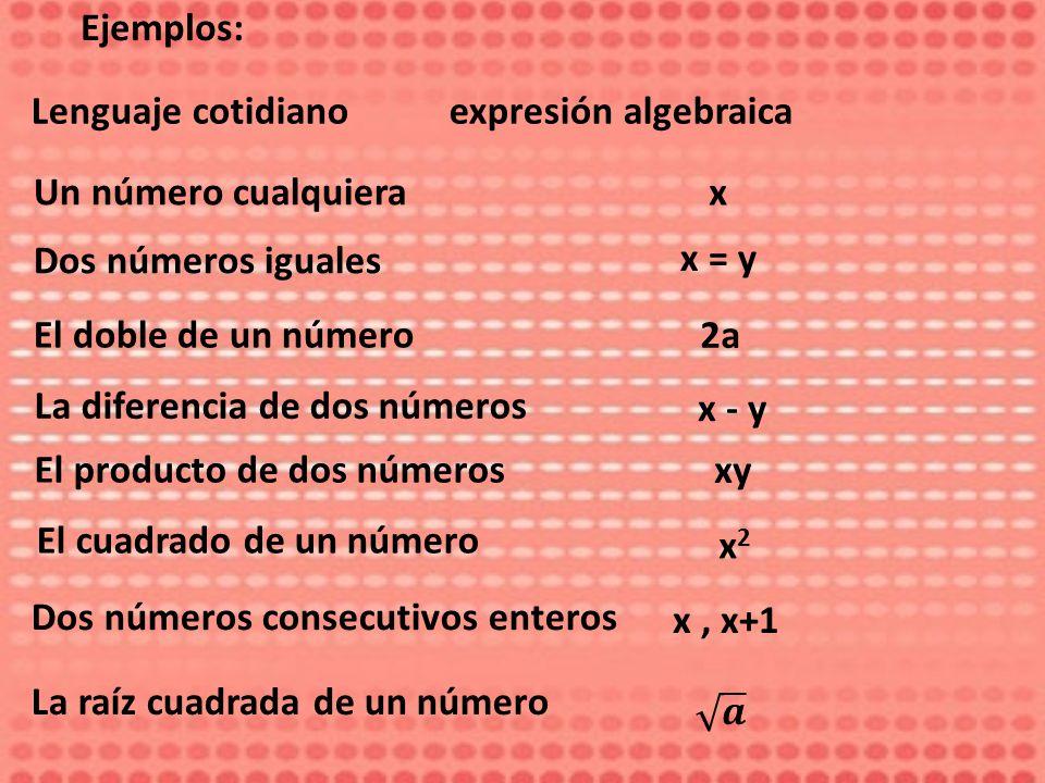 Ejemplos: Lenguaje cotidiano expresión algebraica. Un número cualquiera. x. Dos números iguales.
