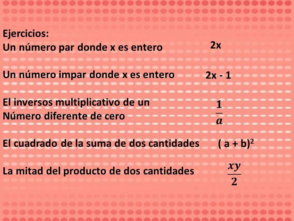 Ejercicios: Un número par donde x es entero. Un número impar donde x es entero. El inversos multiplicativo de un.
