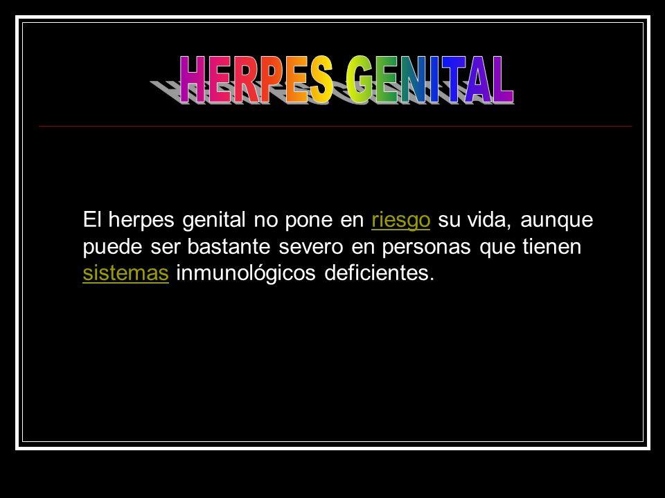 HERPES GENITAL El herpes genital no pone en riesgo su vida, aunque