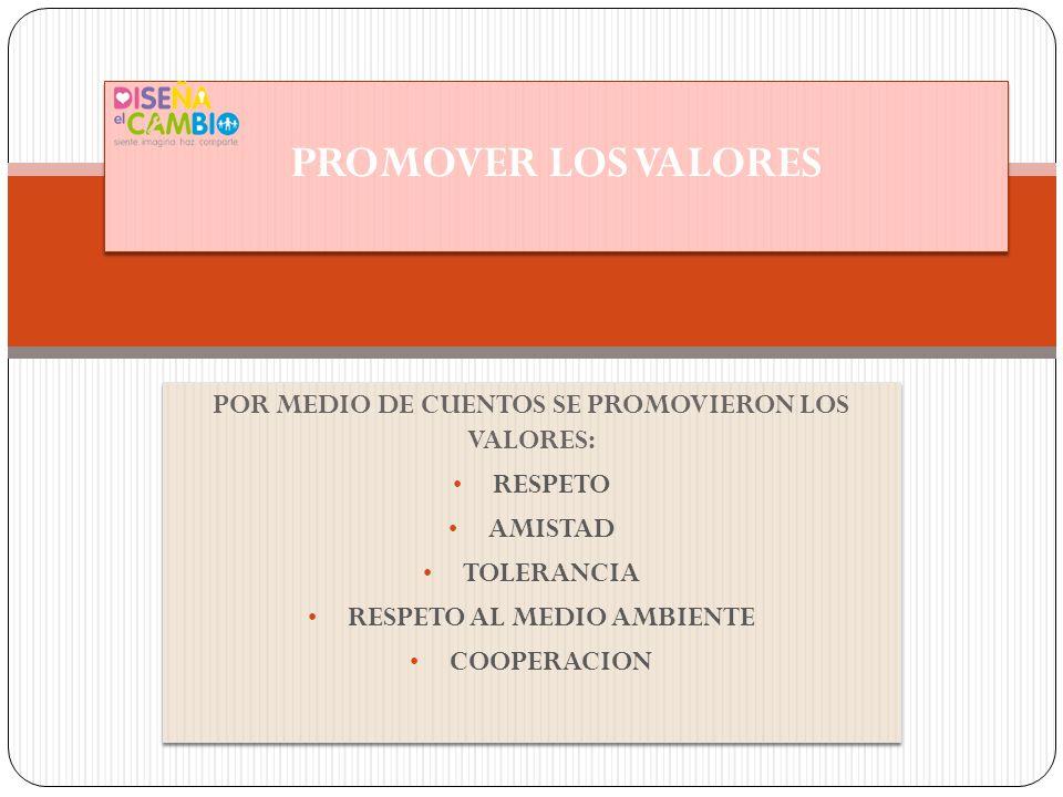 PROMOVER LOS VALORES POR MEDIO DE CUENTOS SE PROMOVIERON LOS VALORES: