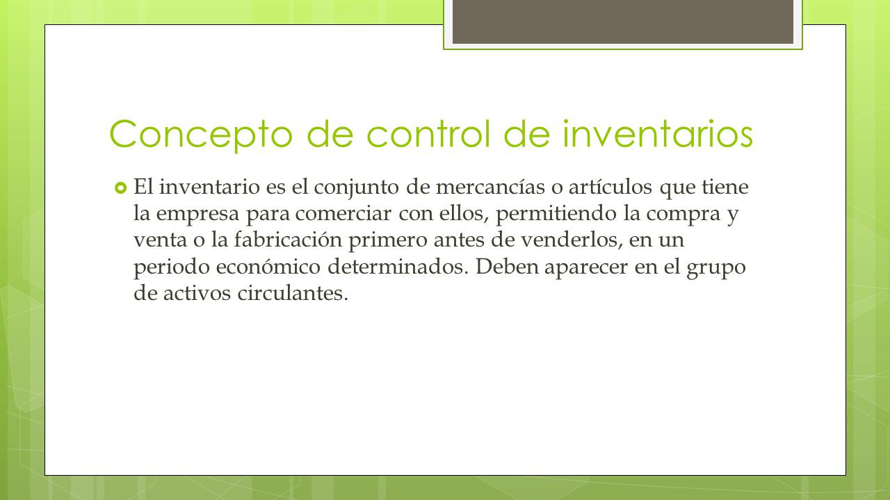 Concepto de control de inventarios