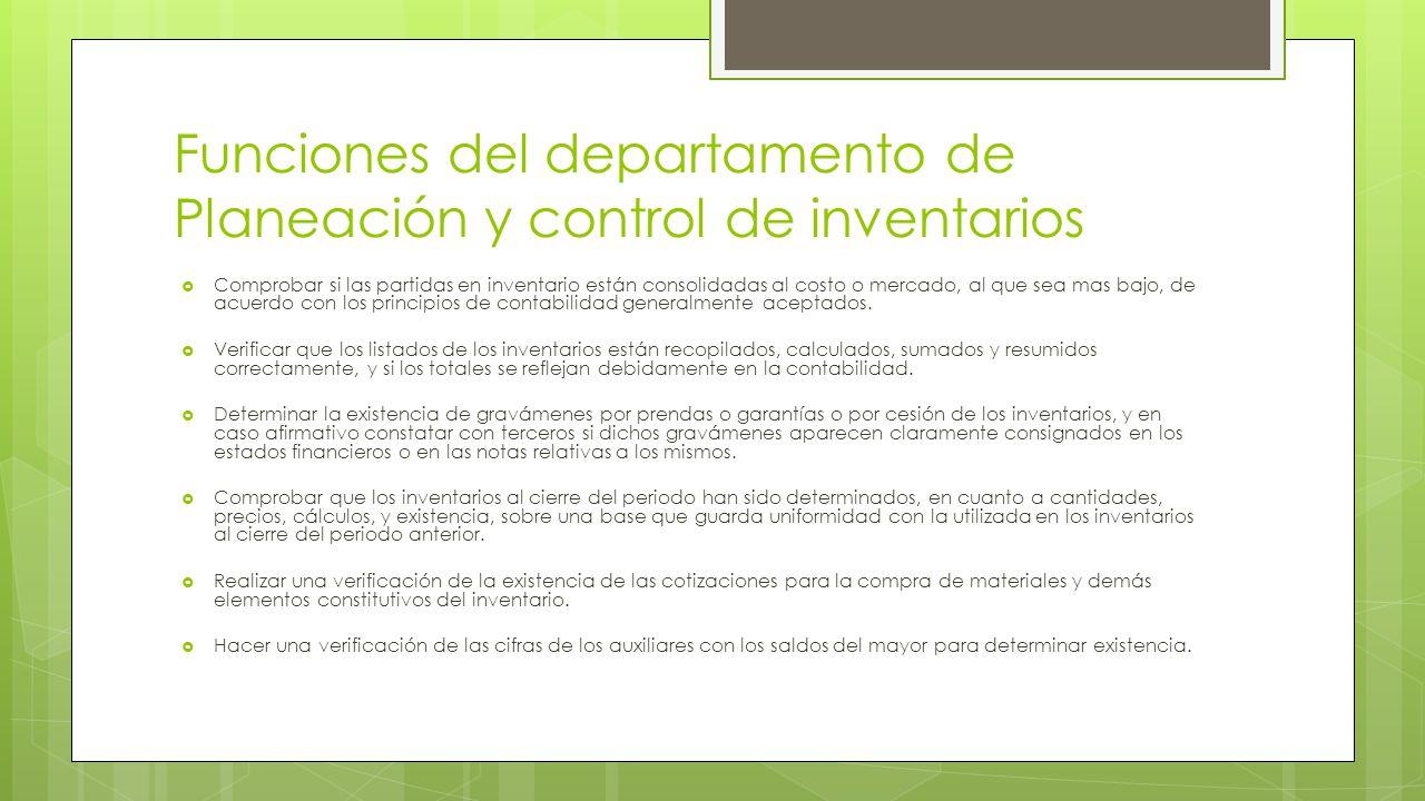 Funciones del departamento de Planeación y control de inventarios