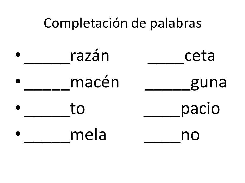 Completación de palabras