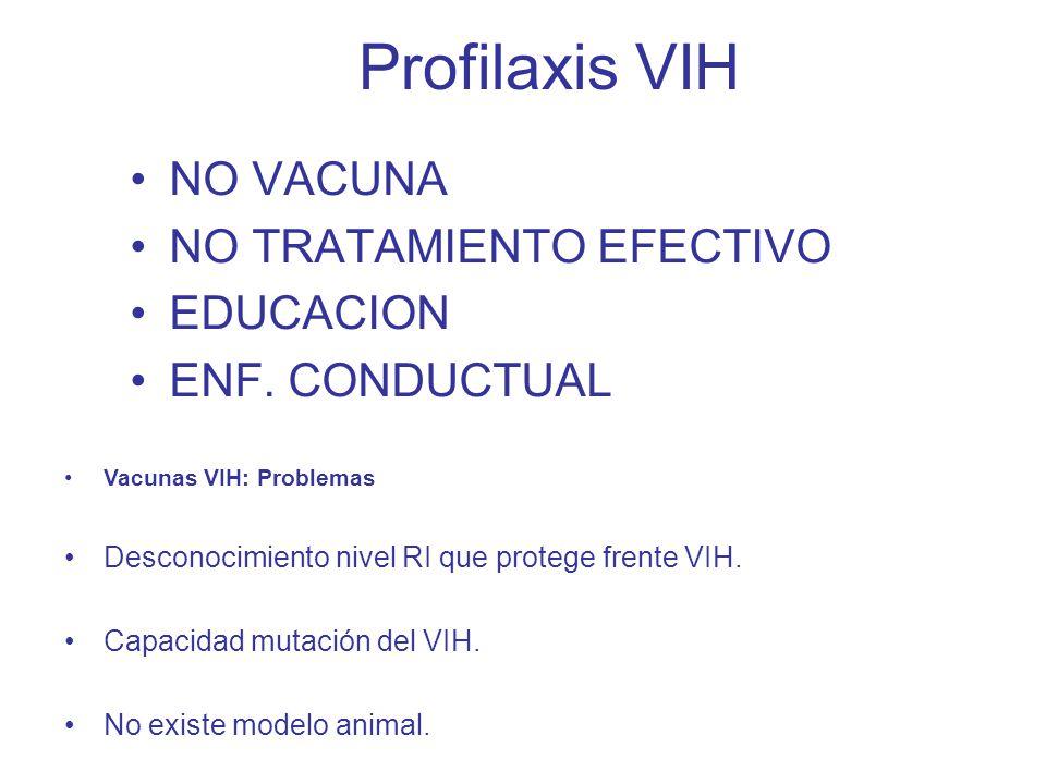 Profilaxis VIH NO VACUNA NO TRATAMIENTO EFECTIVO EDUCACION