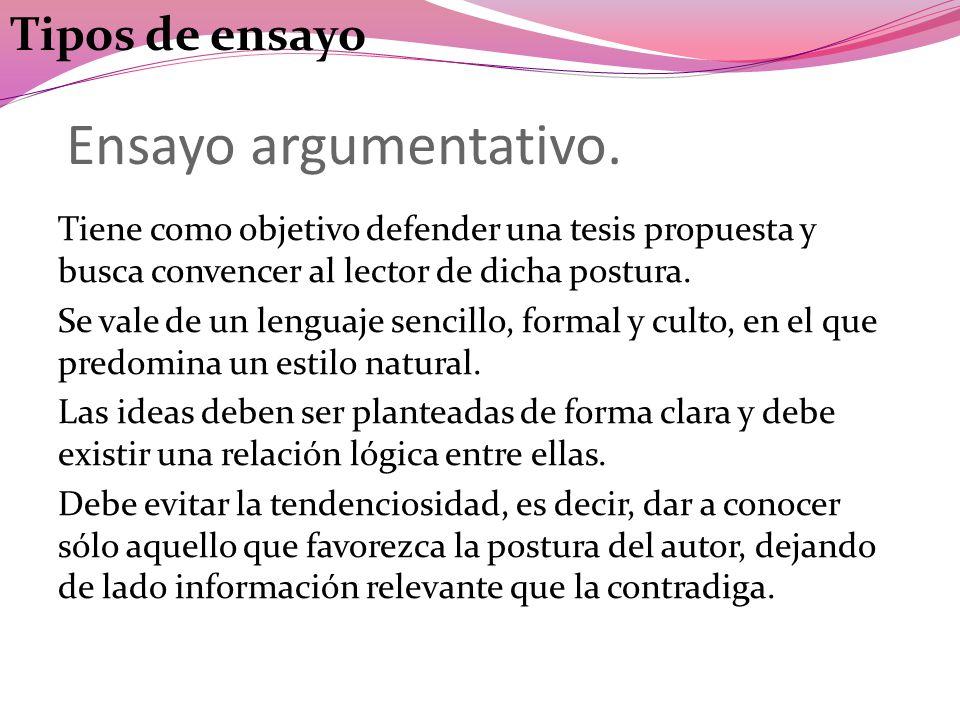Ensayo argumentativo. Tipos de ensayo