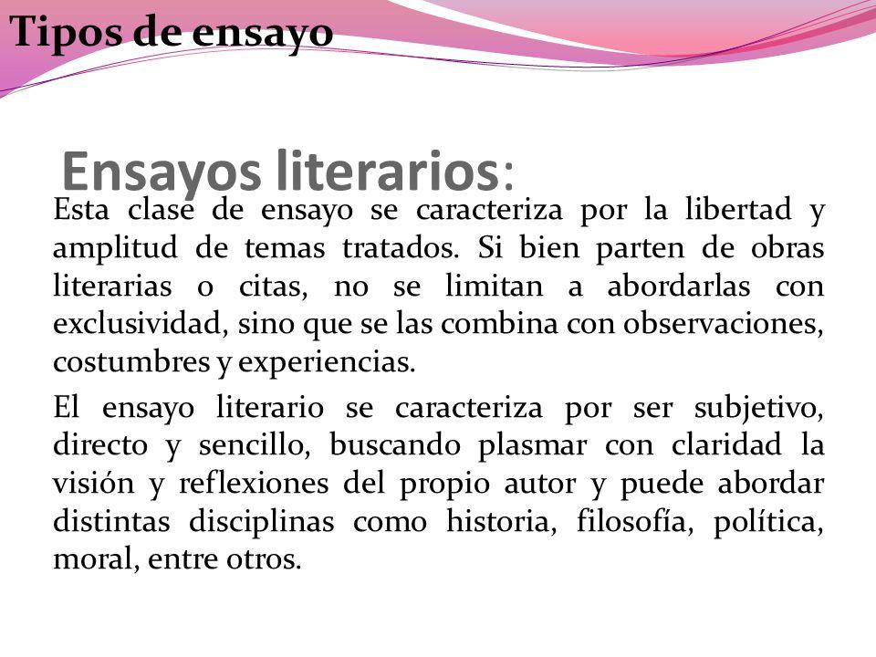 Ensayos literarios: Tipos de ensayo