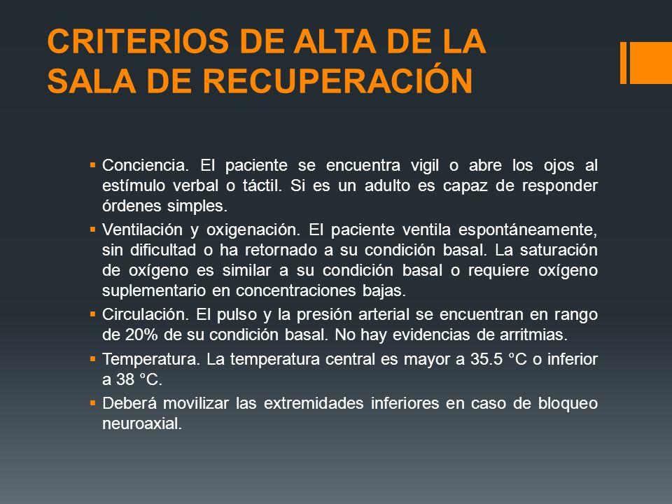 CRITERIOS DE ALTA DE LA SALA DE RECUPERACIÓN