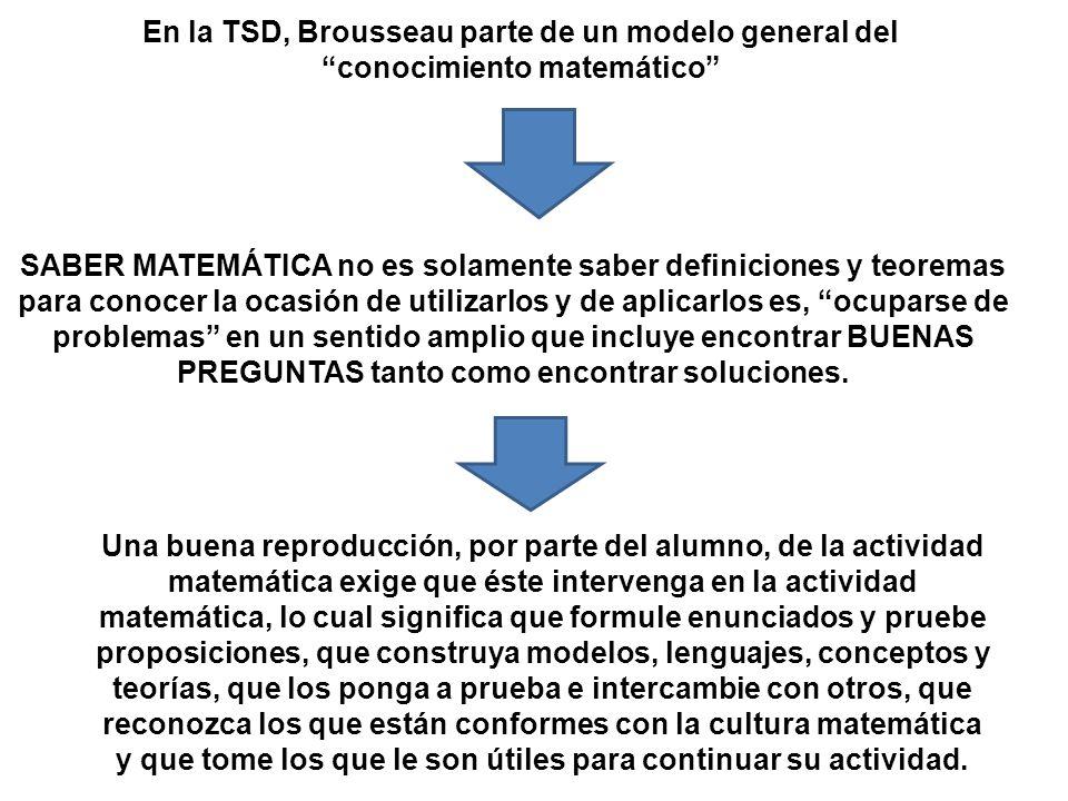 En la TSD, Brousseau parte de un modelo general del conocimiento matemático