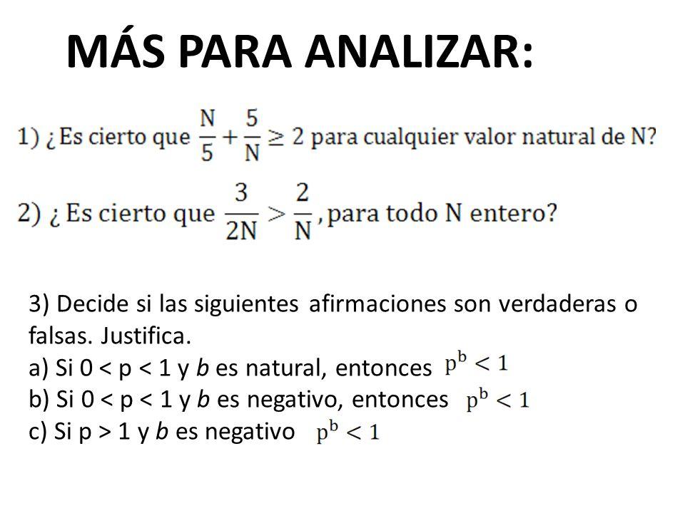 MÁS PARA ANALIZAR: 3) Decide si las siguientes afirmaciones son verdaderas o falsas. Justifica. a) Si 0 < p < 1 y b es natural, entonces.