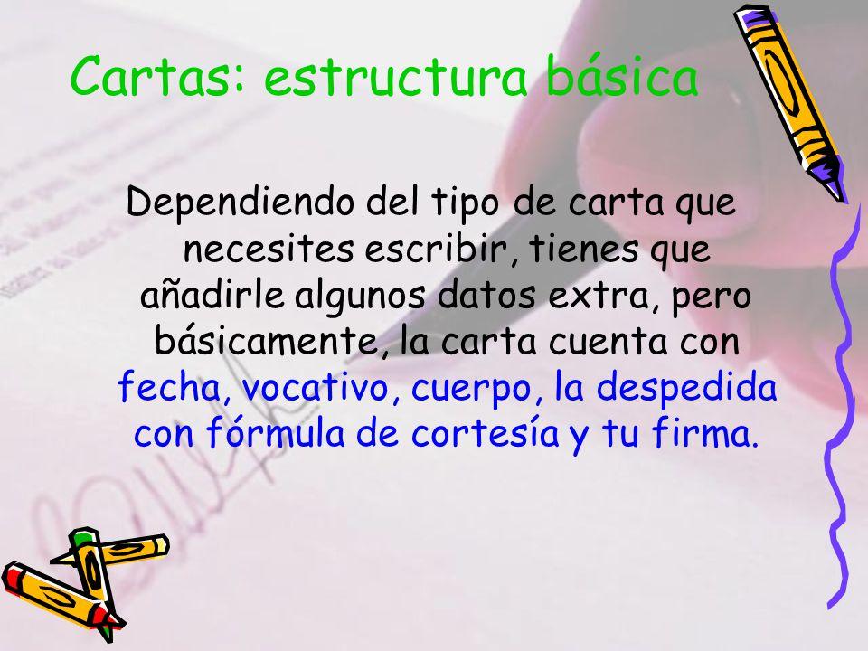 Cartas: estructura básica