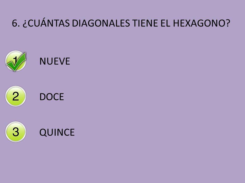 6. ¿CUÁNTAS DIAGONALES TIENE EL HEXAGONO