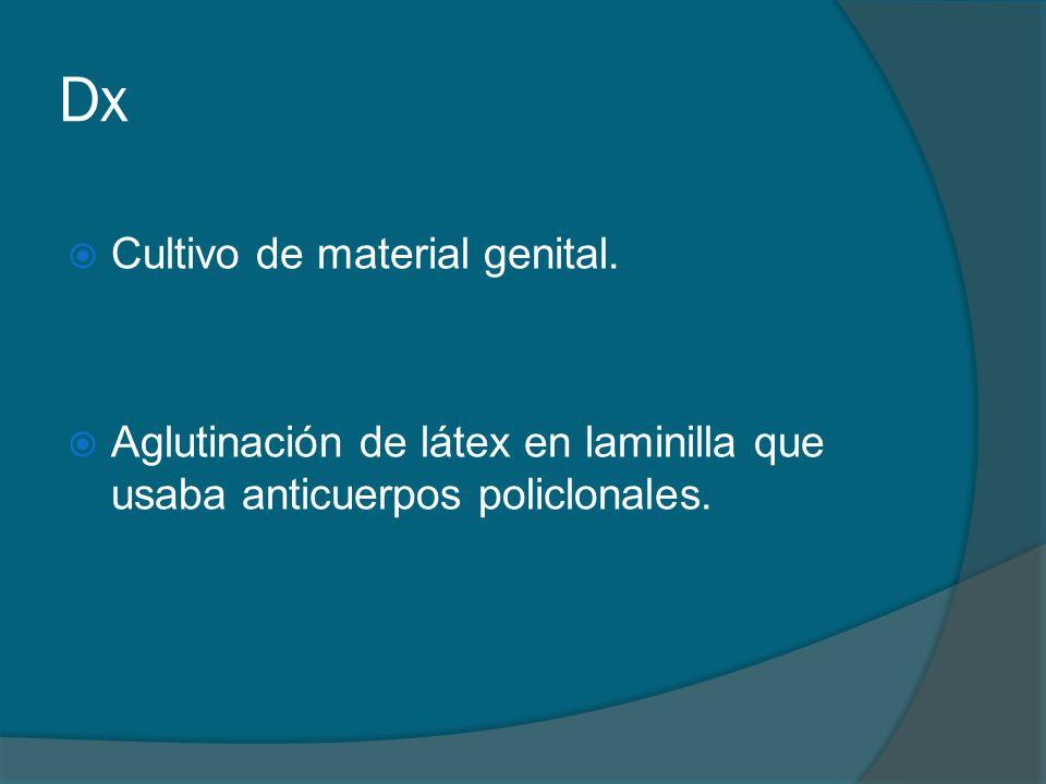 Dx Cultivo de material genital.