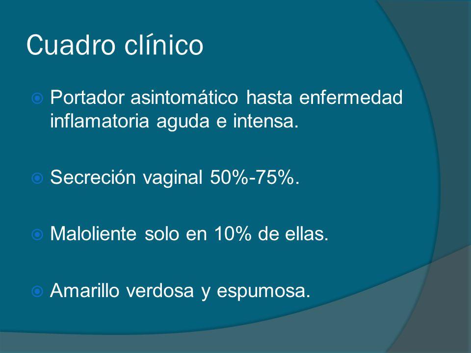 Cuadro clínico Portador asintomático hasta enfermedad inflamatoria aguda e intensa. Secreción vaginal 50%-75%.