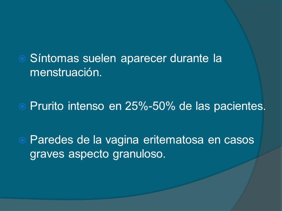 Síntomas suelen aparecer durante la menstruación.